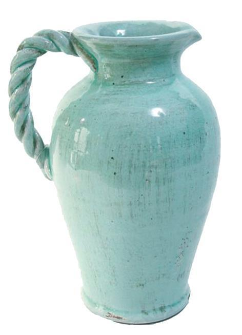 "$48.95 Aqua 12"" Pitcher With Twist Handle"