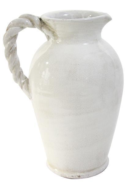 "A&B Floral   12"" H x 10.5"" W White Pitcher With Twist Handle $48.95"
