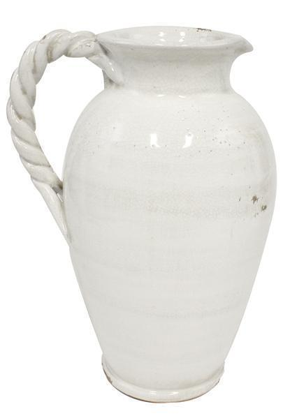 "A&B Floral   14.25"" H x 10.5"" W White Pitcher With Twist Handle $65.95"