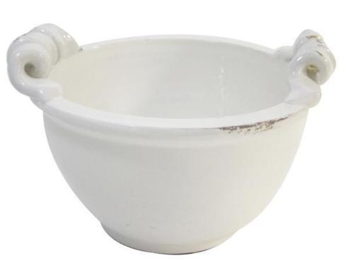 A&B Floral   Hand Thrown White Bowl With Curled Handles $46.95