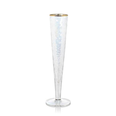 Zodax  Glasses Aperitivo Slim Champagne Flute - Luster w/Gold Rim $14.95