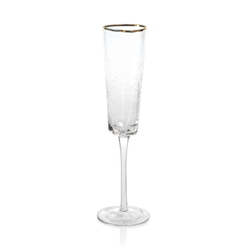 Zodax  Glasses Aperitivo Triangular Stemware - Clear w/ Gold Rim Champagne Flute $14.95