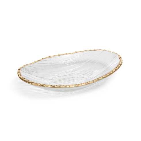 Zodax   Clear Textured Bowl w/Jagged Gold Rim $30.95