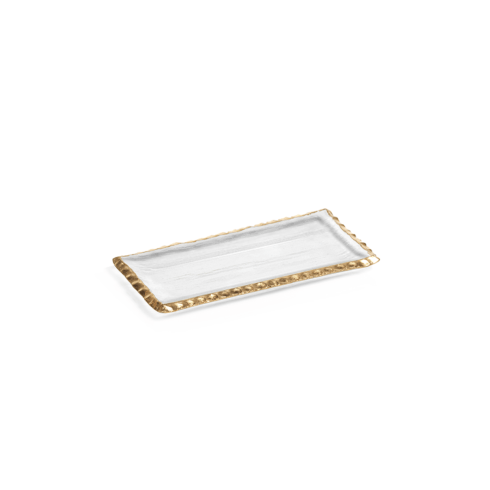 "Zodax   Textured Rectangular Tray w/ Jagged Gold Rim 9"" $16.95"