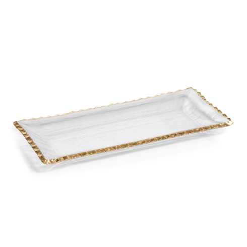 "Zodax   Textured Rectangular Tray w/ Jagged Gold Rim 14.5"" $28.95"