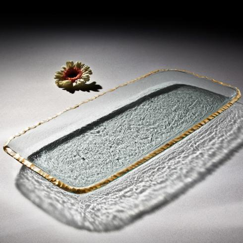 Elizabeth Clair\'s Unique Gifts  Annieglass Edgey Party Tray Gold Edge $314.95