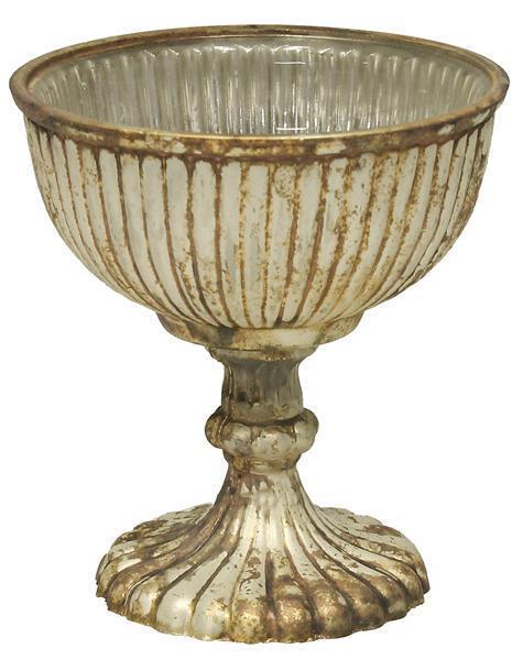 "$18.95 5"" H X 4.75"" GLASS RIBBED COMPOTE White Patina"