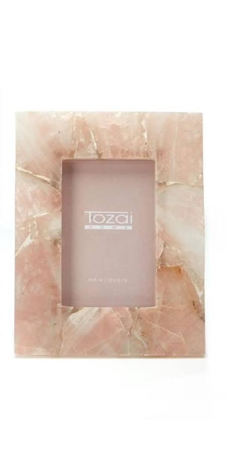 """Tozai Home   GENUINE PINK QUARTZ/IRON/GLASS 4"""" x 6"""" $84.95"""