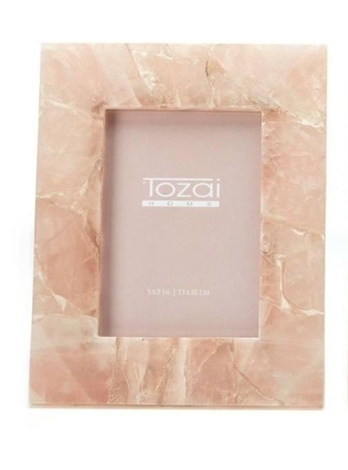 "$84.95 GENUINE PINK QUARTZ/IRON/GLASS 5"" x 7"""
