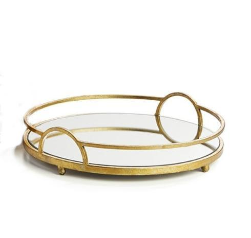 Napa Home & Garden   Hudson Mirrored Tray with Antique Gold Finish $84.95