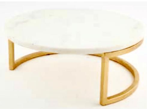 """$55.95 14"""" Round White Marble on Raised Gold Stand"""