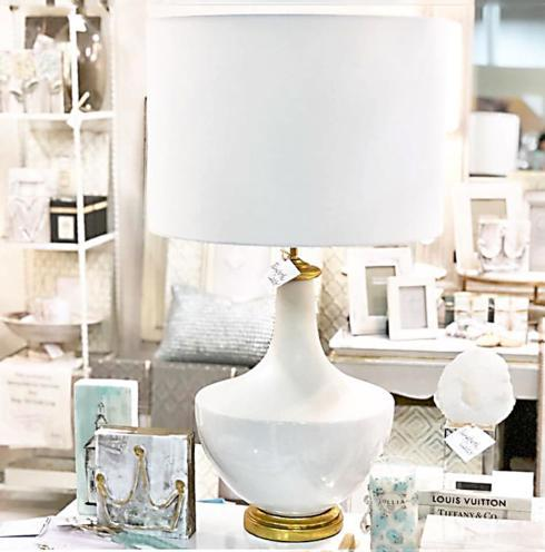"$199.95 Ceramic base with a Linen shade. Shade is 15.5""R x 11"" H. Lamp measures 15.5"" L x 15.5"" W x 27"" H"