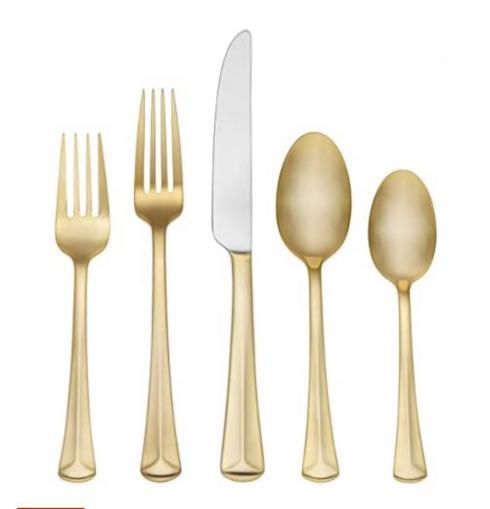 Elizabeth Clair\'s Unique Gifts   Reed & Barton Baguett Gold Flatware 5PC Setting $55.00