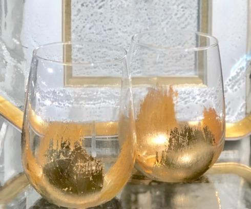 ELM Designs   Gold Leaf Stemless Wine $25.95