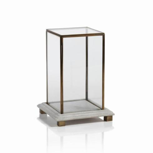$84.95 Small Glass Box On Marble And Brass Base