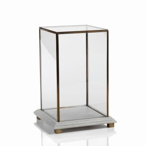 $118.95 Large Glass Box On Marble And Brass Base