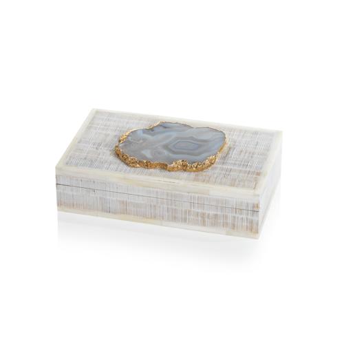 $76.95 Chiseled Mangowood and Bone Box with Agate Stone