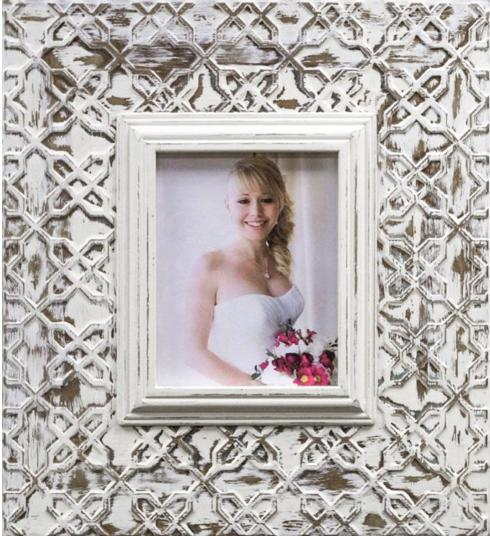 Elizabeth Clair\'s Unique Gifts  Frames Large Metal frame 8X10 Lattice Silver & White Wash $129.95