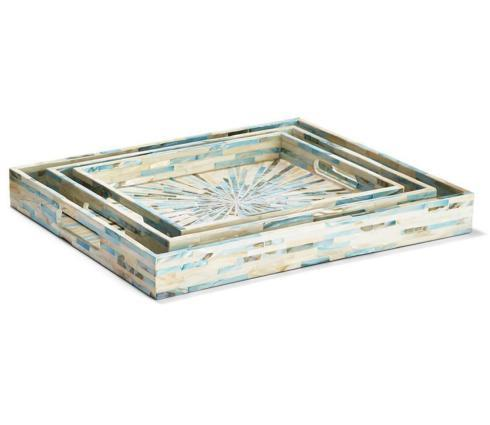 $86.95 Large Rectangular Aqua Gallery Tray