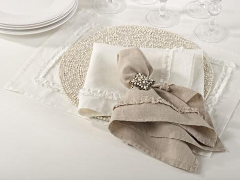 "Saro Designs   Gray Ruffled Design Napkin 20"" Square - Sold per 4 $51.95"