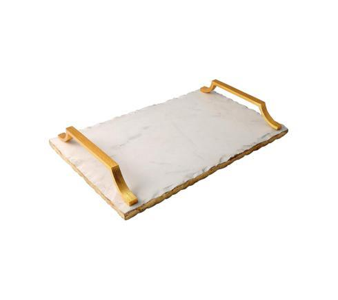 Old Hollywood Gold Edged Tray, One Size, White Marble image
