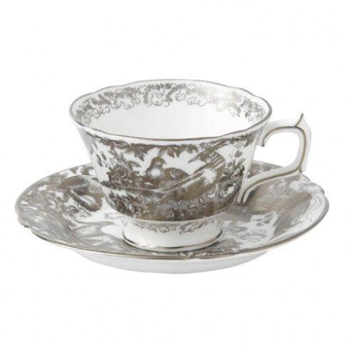 Elizabeth Clair\'s Unique Gifts   Royal Crown Derby Cup and Saucer AVES Platinum $235.00
