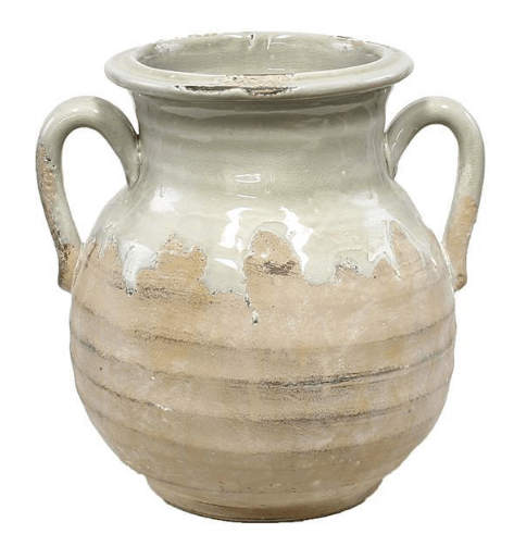 "$45.95 10"" HAND THROWN ROUND VASE WITH EAR HANDLES"