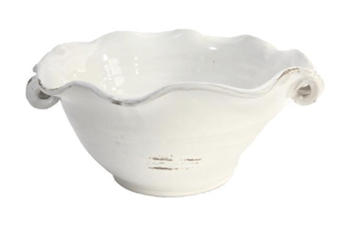A&B Floral   WHITE FLUTED BOWL $58.95