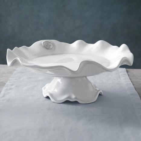 Elizabeth Clair\'s Unique Gifts  Beatriz Ball CERAMIC Pedestal Medallion Cake Plate White $129.95