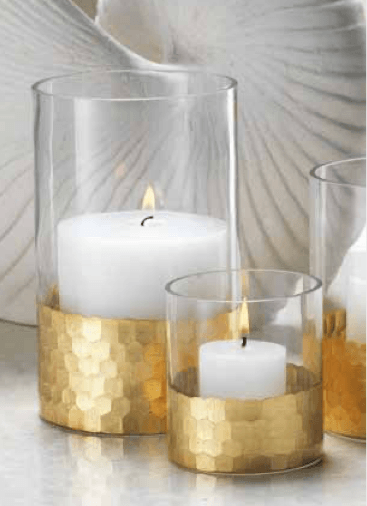 Zodax    Fez Cut Glass Hurricane / Vase with Gold Leaf $34.95