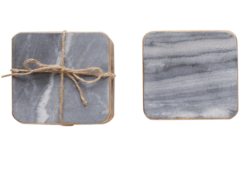 Creative Co-op    Set of 4 Grey Marble Coasters with Gold Edges $17.95