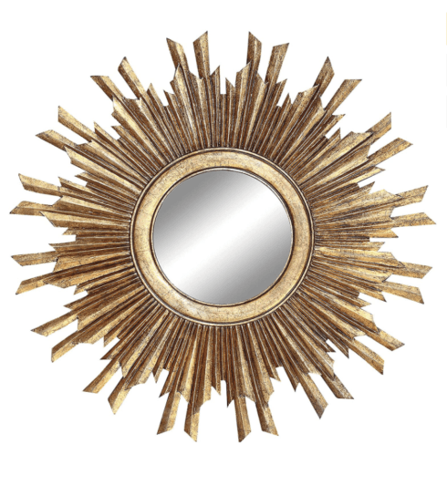 Creative Co-op   Round Sunburst Wall Mirror with Gold Finish $198.95