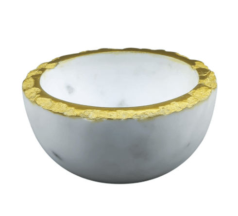 $24.95 Bowl with Gold Edge with White Marble Inside