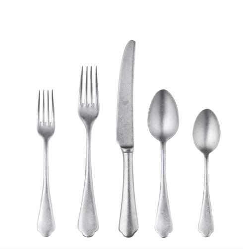 Mepra  5 Piece Place Settings  Dolce Vita Flatware, 5-Piece Set - Coffee Spoon, Dinner Fork, Dessert Fork, Dinner Knife, Dessert Spoon, Metallic Cutlery Set, Stainless Steel Tableware $74.95