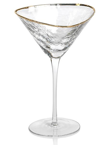 Zodax  Glasses Aperitivo Triangular Martini Glasses Clear With Gold Rim $16.95