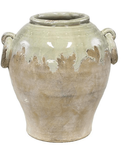 $40.95 HAND THROWN SAGE JAR WITH HANDLES