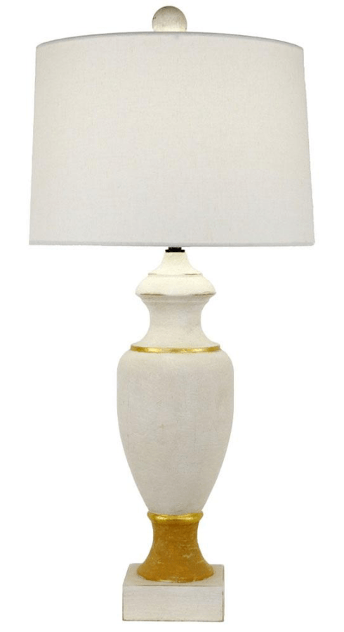 $349.95 Table Lamp Cream Wood with Gold Accents