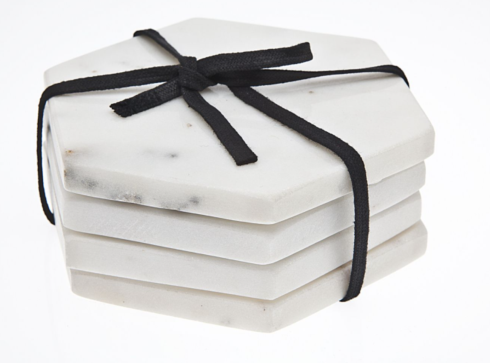 $18.95 Godinger 4 in. Hex Coaster Tiles, White Marble - Set of 4
