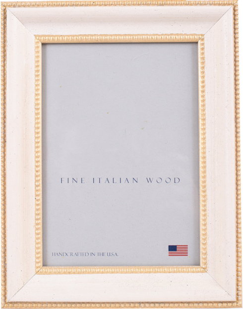 "Elizabeth Clair\'s Unique Gifts  Frames Emma Cream with Gold 5"" X 7"" Frame $41.95"