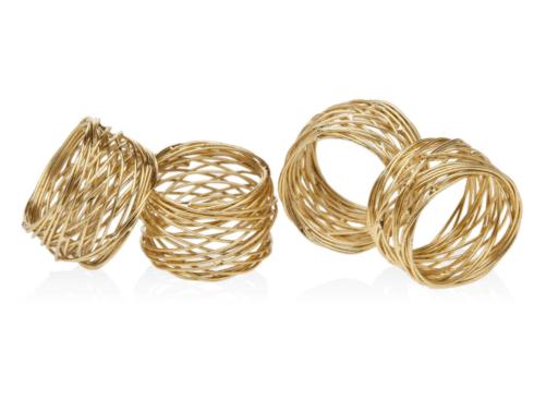 Elizabeth Clair\'s Unique Gifts   Godinger Gold Round Mesh Napkin Rings Set of 4 $18.95