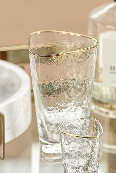 Zodax  Glasses Aperi Triangular Highball GlassGold Rim $14.95