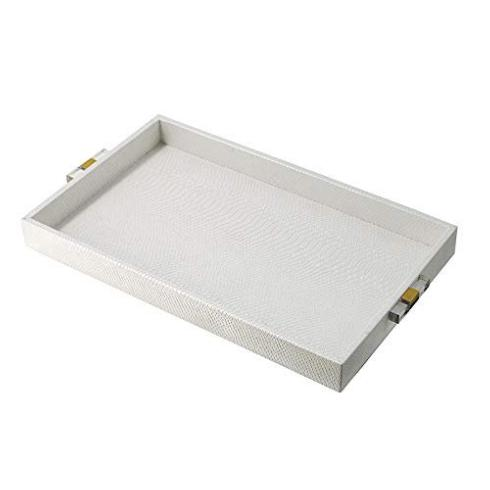 A & B Home   Large White Tray with an Acrylic Snakeskin exterior $59.95