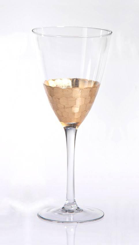 Zodax  Glasses Vitorrio Gold Leaf Red Wine Glass,  $21.95