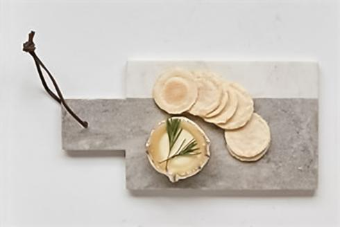 $18.95 Marble Cheese Board w/ Leather Tie, Grey/White
