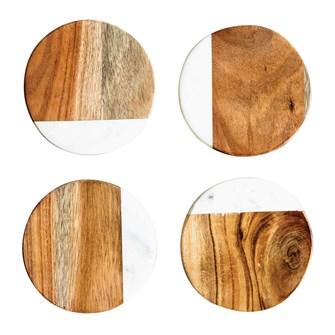 "Creative Co-op   4"" Round Marble & Mango Wood Coasters, Set of 4 $16.95"