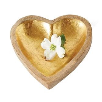 "Creative Co-op   8"" L Mango Wood Heart Tray, Gold Leaf Inside Fin $15.95"