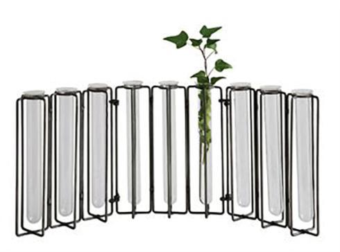 Creative Co-op   Metal & Glass Jointed Vase, Iron Fin w/ 9 Test Tubes  $48.95