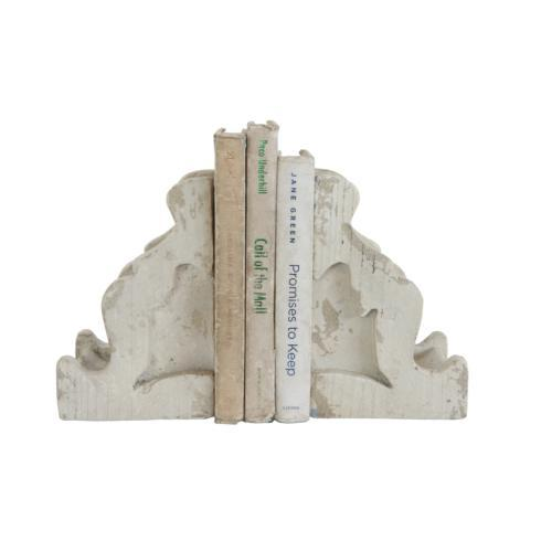 $49.95 Chateau Distressed White Magnesia Corbel Bookends