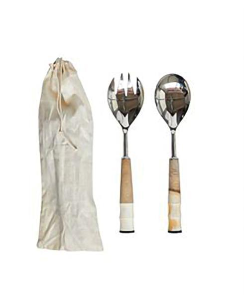 $27.95 Stainless Steel, Wood & Horn Salad Servers in Drawstring Bag, Set of 2