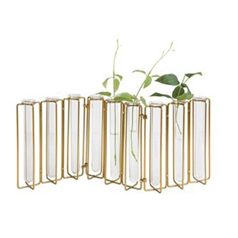 Creative Co-op   Metal & Glass Jointed Vase with 9 Test Tubes, Gold Fin $54.95
